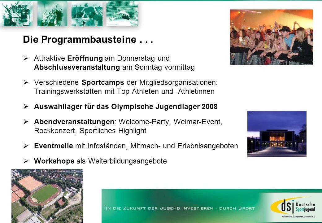 Die Programmbausteine... Attraktive Eröffnung am Donnerstag und Abschlussveranstaltung am Sonntag vormittag Verschiedene Sportcamps der Mitgliedsorgan