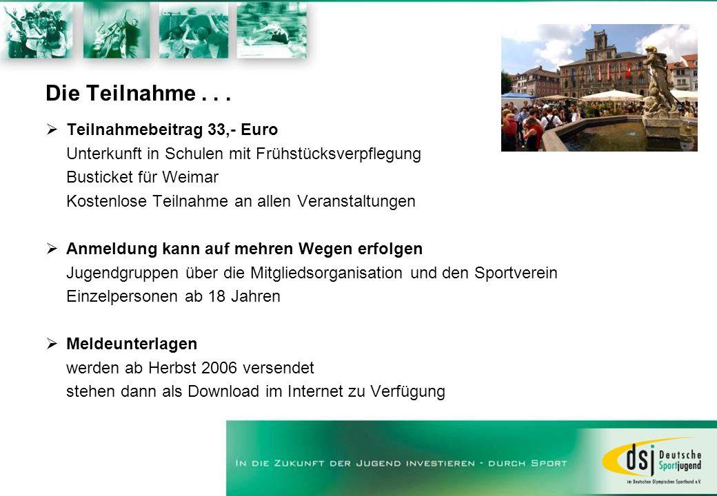 Die Teilnahme... Teilnahmebeitrag 33,- Euro Unterkunft in Schulen mit Frühstücksverpflegung Busticket für Weimar Kostenlose Teilnahme an allen Veranst