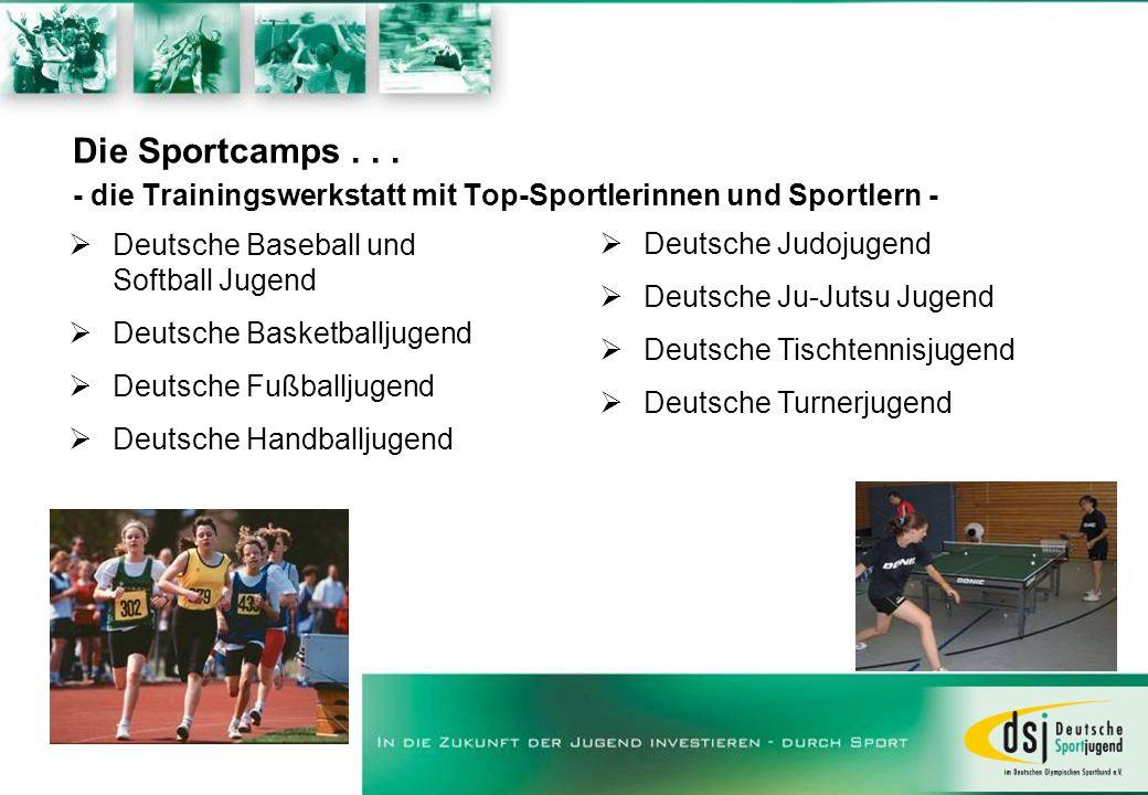 Die Sportcamps... - die Trainingswerkstatt mit Top-Sportlerinnen und Sportlern - Deutsche Baseball und Softball Jugend Deutsche Basketballjugend Deuts