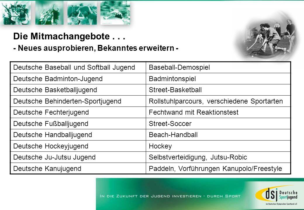 Die Mitmachangebote... - Neues ausprobieren, Bekanntes erweitern - Deutsche Baseball und Softball JugendBaseball-Demospiel Deutsche Badminton-JugendBa