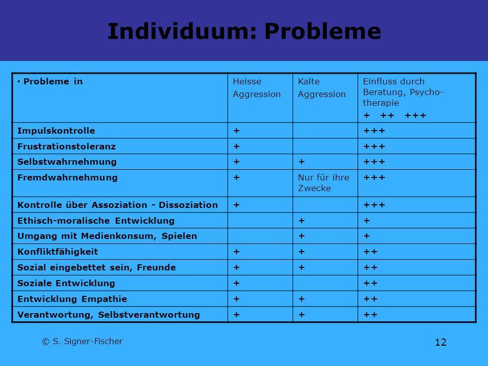 © S. Signer-Fischer 12 Individuum: Probleme Probleme inHeisse Aggression Kalte Aggression Einfluss durch Beratung, Psycho- therapie + ++ +++ Impulskon