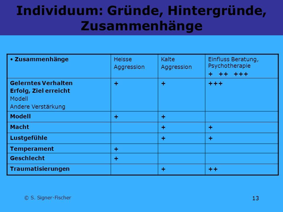 © S. Signer-Fischer 13 Individuum: Gründe, Hintergründe, Zusammenhänge ZusammenhängeHeisse Aggression Kalte Aggression Einfluss Beratung, Psychotherap