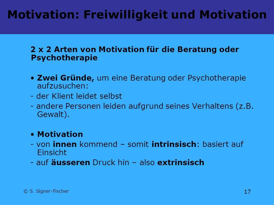 © S. Signer-Fischer 17 Motivation: Freiwilligkeit und Motivation 2 x 2 Arten von Motivation für die Beratung oder Psychotherapie Zwei Gründe, um eine