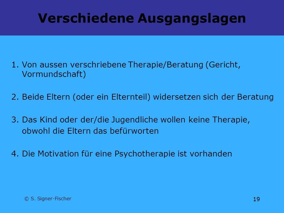© S. Signer-Fischer 19 Verschiedene Ausgangslagen 1. Von aussen verschriebene Therapie/Beratung (Gericht, Vormundschaft) 2. Beide Eltern (oder ein Elt