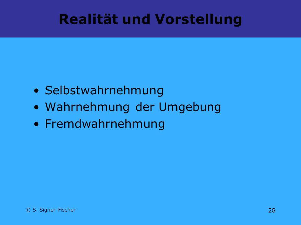 © S. Signer-Fischer 28 Realität und Vorstellung Selbstwahrnehmung Wahrnehmung der Umgebung Fremdwahrnehmung