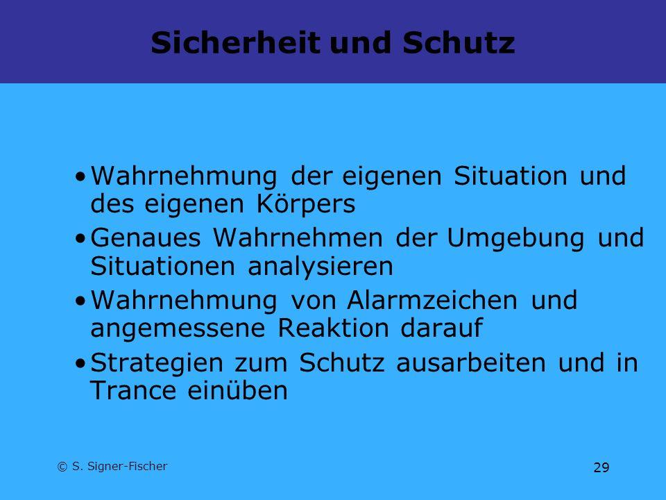© S. Signer-Fischer 29 Sicherheit und Schutz Wahrnehmung der eigenen Situation und des eigenen Körpers Genaues Wahrnehmen der Umgebung und Situationen