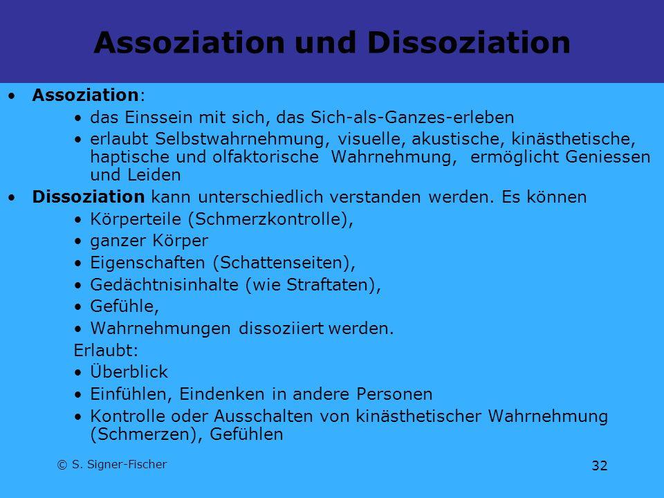 © S. Signer-Fischer 32 Assoziation und Dissoziation Assoziation: das Einssein mit sich, das Sich-als-Ganzes-erleben erlaubt Selbstwahrnehmung, visuell
