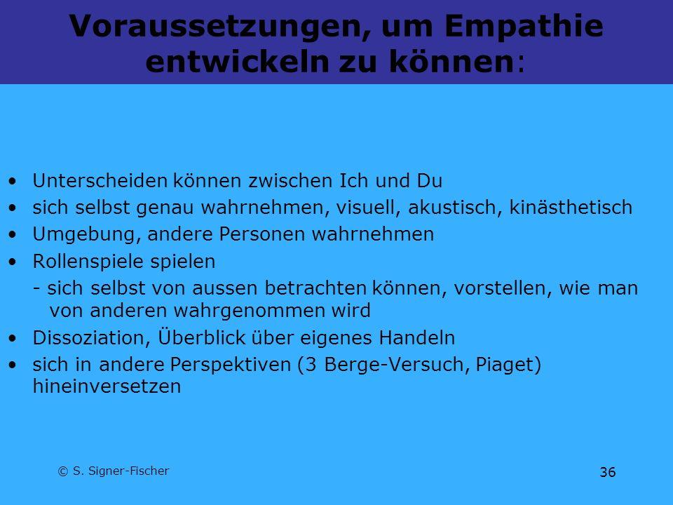 © S. Signer-Fischer 36 Voraussetzungen, um Empathie entwickeln zu können: Unterscheiden können zwischen Ich und Du sich selbst genau wahrnehmen, visue