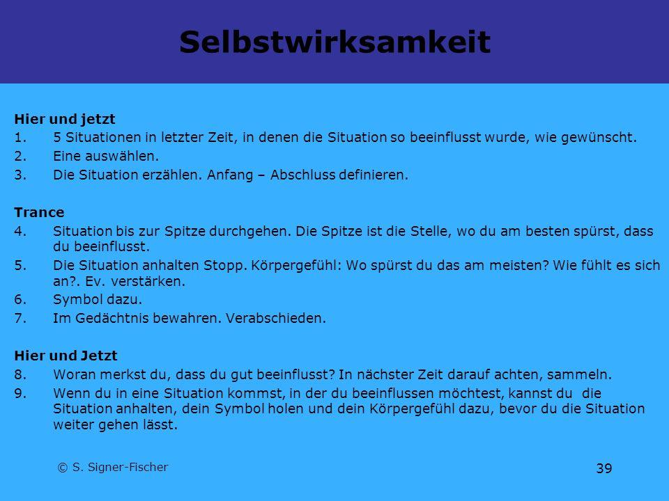 © S. Signer-Fischer 39 Selbstwirksamkeit Hier und jetzt 1.5 Situationen in letzter Zeit, in denen die Situation so beeinflusst wurde, wie gewünscht. 2