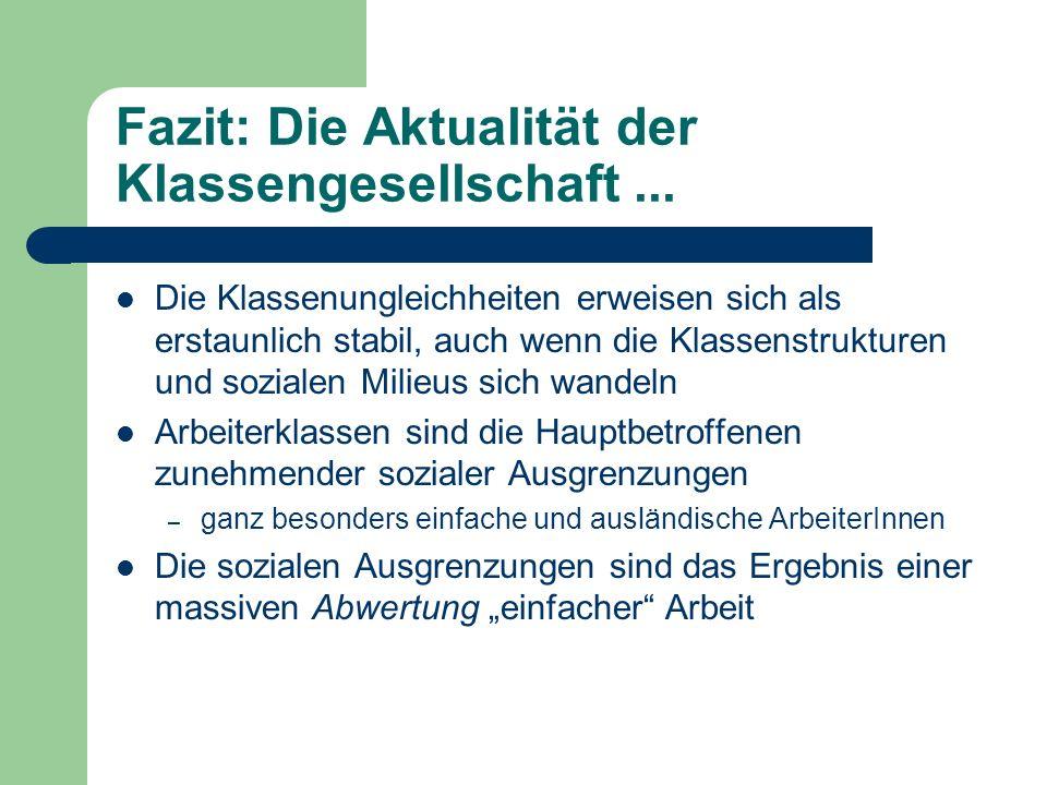 Fazit: Die Aktualität der Klassengesellschaft...