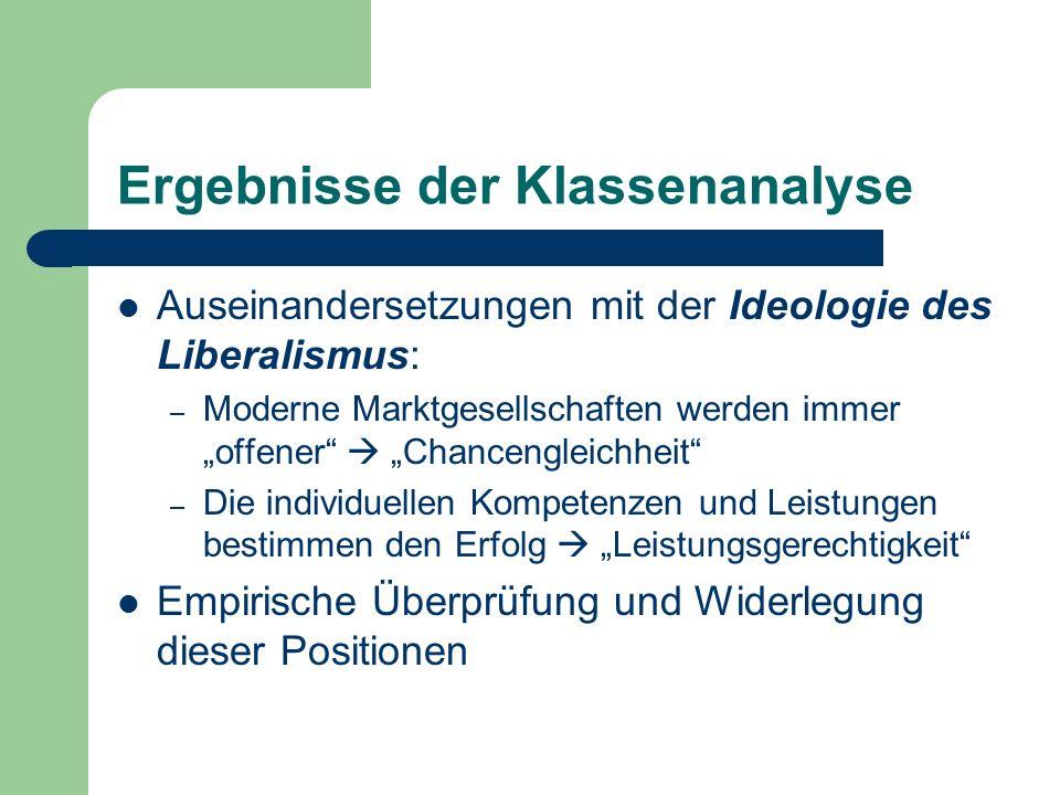 Ergebnisse der Klassenanalyse Auseinandersetzungen mit der Ideologie des Liberalismus: – Moderne Marktgesellschaften werden immer offener Chancengleic