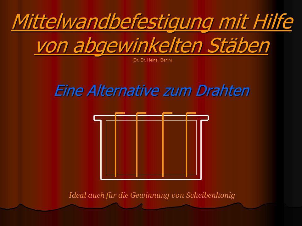 Mittelwandbefestigung mit Hilfe von abgewinkelten Stäben Eine Alternative zum Drahten (Dr. Dr. Heine, Berlin) Ideal auch für die Gewinnung von Scheibe
