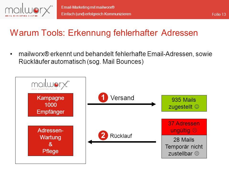 Email-Marketing mit mailworx® Einfach (und) erfolgreich Kommunizieren Folie 13 Warum Tools: Erkennung fehlerhafter Adressen mailworx® erkennt und beha