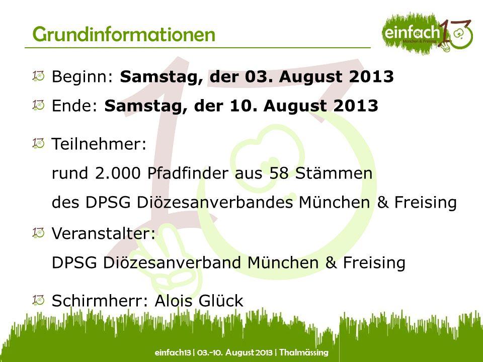einfach13 | 03.-10. August 2013 | Thalmässing Grundinformationen Beginn: Samstag, der 03. August 2013 Ende: Samstag, der 10. August 2013 Teilnehmer: r