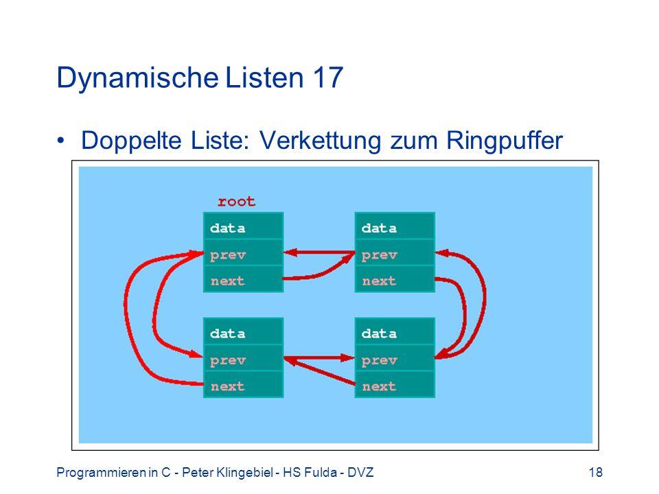 Programmieren in C - Peter Klingebiel - HS Fulda - DVZ18 Dynamische Listen 17 Doppelte Liste: Verkettung zum Ringpuffer