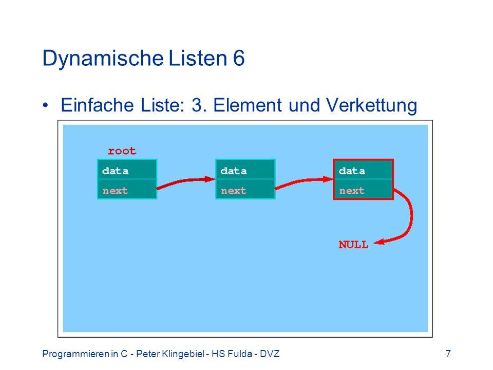 Programmieren in C - Peter Klingebiel - HS Fulda - DVZ7 Dynamische Listen 6 Einfache Liste: 3. Element und Verkettung