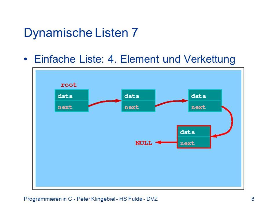 Programmieren in C - Peter Klingebiel - HS Fulda - DVZ8 Dynamische Listen 7 Einfache Liste: 4. Element und Verkettung