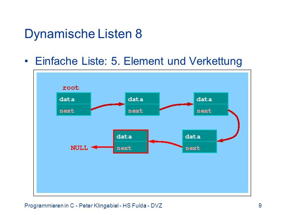 Programmieren in C - Peter Klingebiel - HS Fulda - DVZ9 Dynamische Listen 8 Einfache Liste: 5. Element und Verkettung