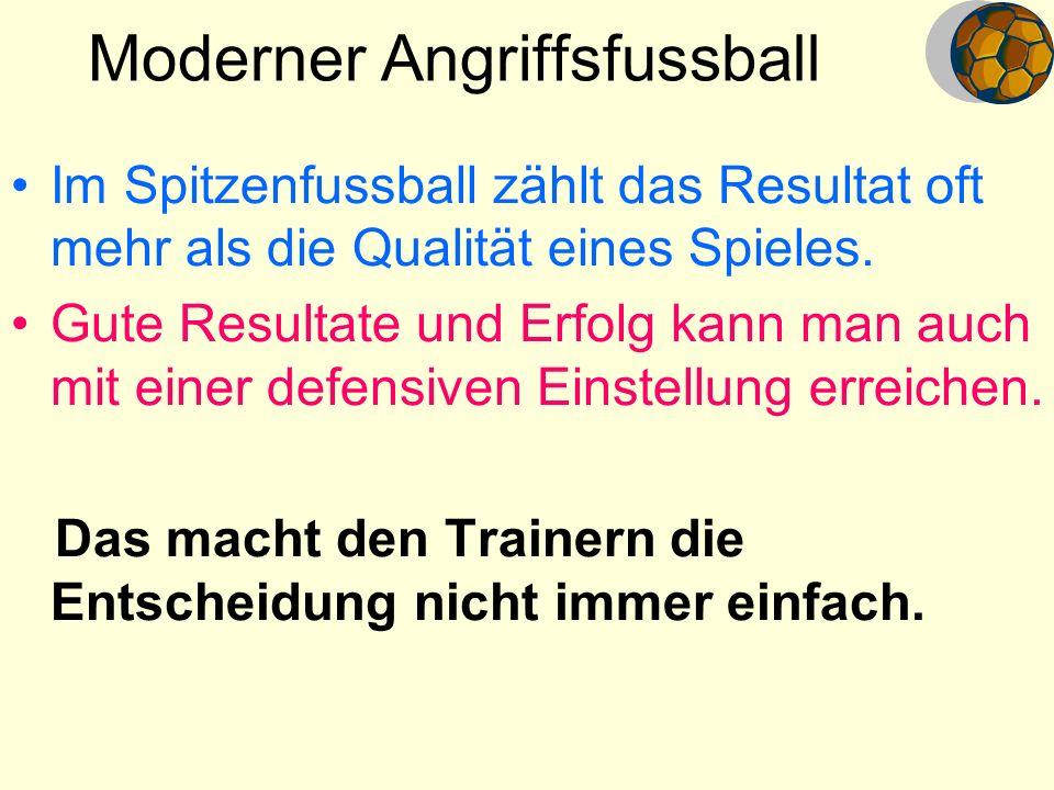 Moderner Angriffsfussball Im Spitzenfussball zählt das Resultat oft mehr als die Qualität eines Spieles. Gute Resultate und Erfolg kann man auch mit e
