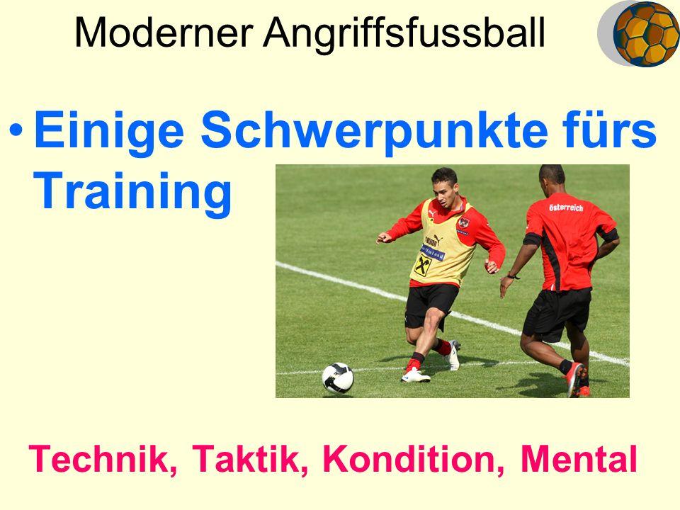 Moderner Angriffsfussball Einige Schwerpunkte fürs Training Technik, Taktik, Kondition, Mental