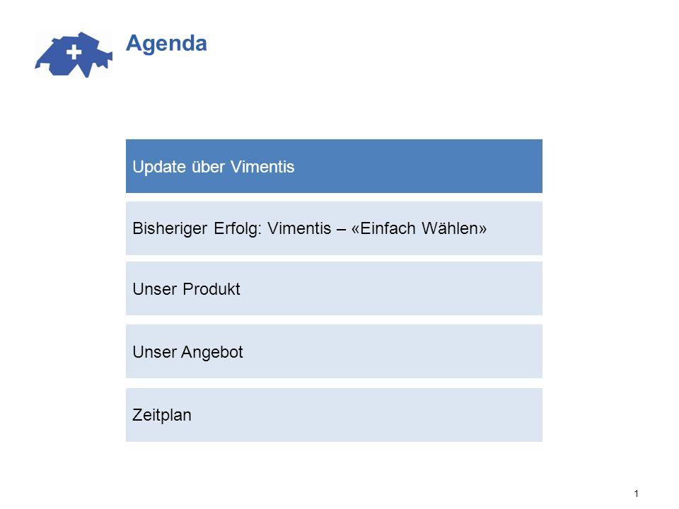 Agenda Bisheriger Erfolg: Vimentis – «Einfach Wählen» Unser Angebot Update über Vimentis 1 Unser Produkt Zeitplan
