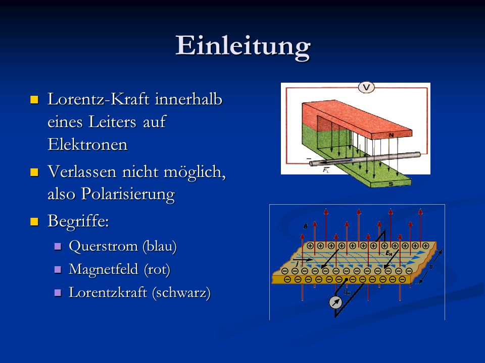 Einleitung Lorentz-Kraft innerhalb eines Leiters auf Elektronen Lorentz-Kraft innerhalb eines Leiters auf Elektronen Verlassen nicht möglich, also Pol