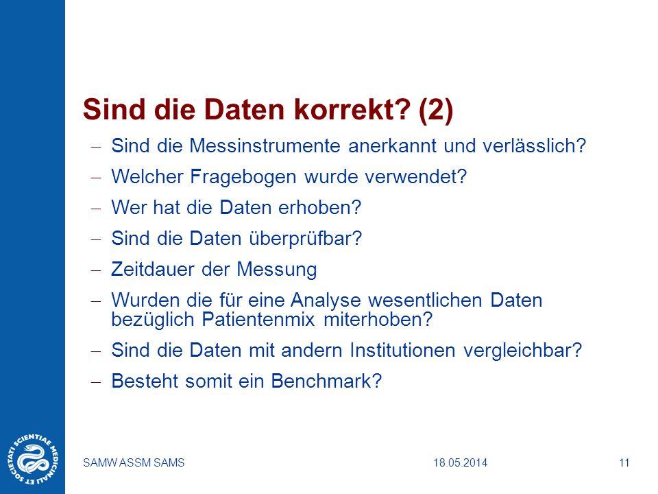 18.05.2014SAMW ASSM SAMS11 Sind die Daten korrekt? (2) Sind die Messinstrumente anerkannt und verlässlich? Welcher Fragebogen wurde verwendet? Wer hat