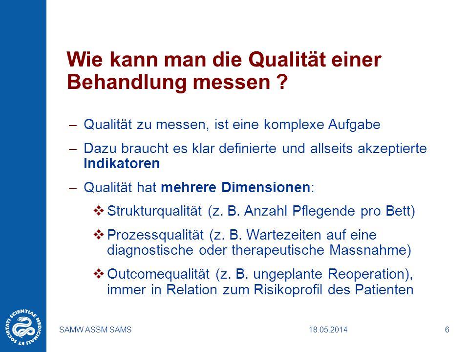 18.05.2014SAMW ASSM SAMS6 Wie kann man die Qualität einer Behandlung messen ? –Qualität zu messen, ist eine komplexe Aufgabe –Dazu braucht es klar def