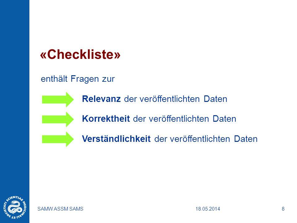 18.05.2014SAMW ASSM SAMS8 «Checkliste» enthält Fragen zur Relevanz der veröffentlichten Daten Korrektheit der veröffentlichten Daten Verständlichkeit