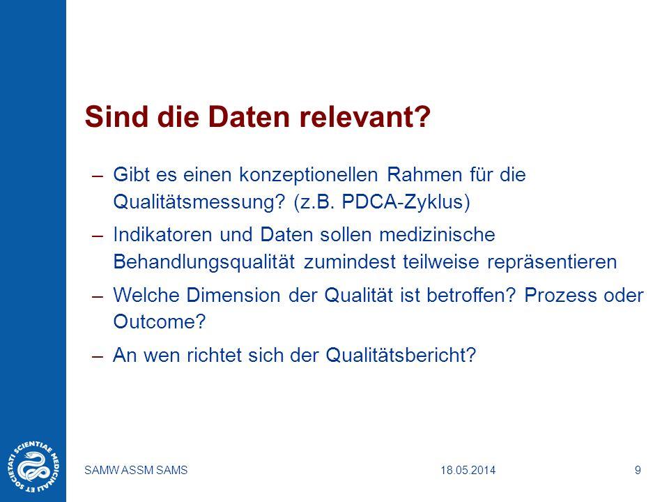 18.05.2014SAMW ASSM SAMS9 Sind die Daten relevant? –Gibt es einen konzeptionellen Rahmen für die Qualitätsmessung? (z.B. PDCA-Zyklus) –Indikatoren und