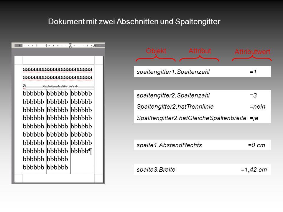 Dokument mit zwei Abschnitten und Spaltengitter spaltengitter2.Spaltenzahl=3 Spaltengitter2.hatTrennlinie=nein Spalltengitter2.hatGleicheSpaltenbreite