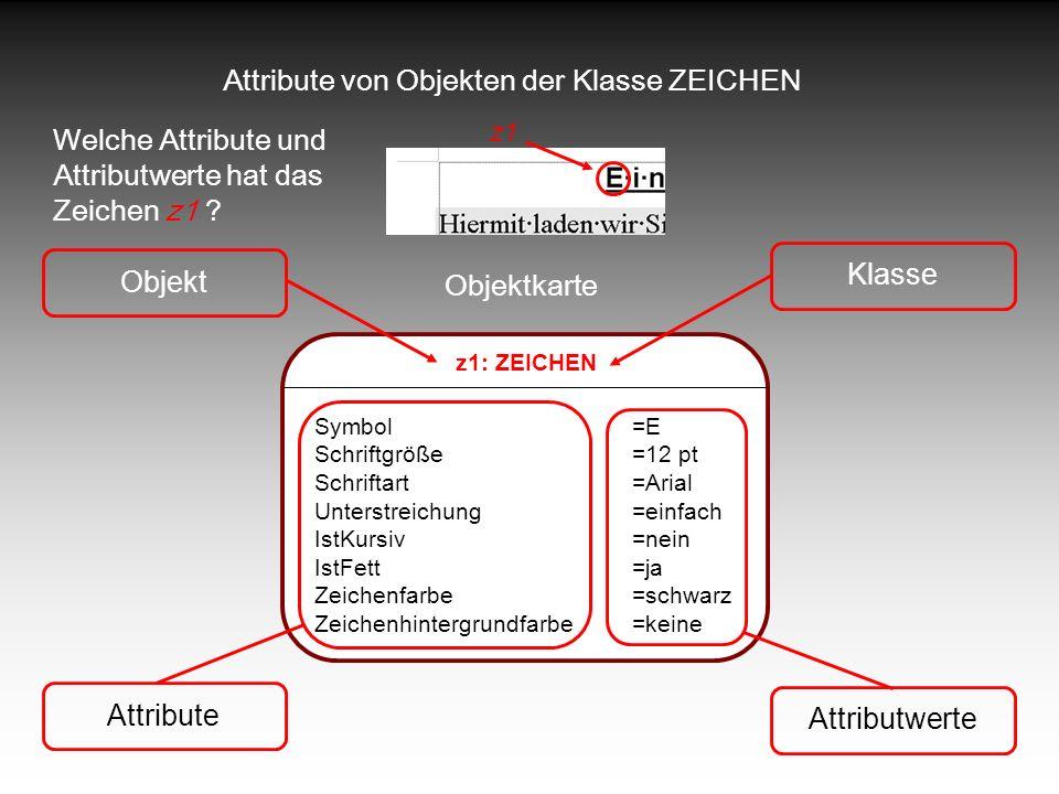 Attribute von Objekten der Klasse ZEICHEN Welche Attribute und Attributwerte hat das Zeichen z1 ? z1: ZEICHEN Symbol=E Schriftgröße=12 pt Schriftart=A