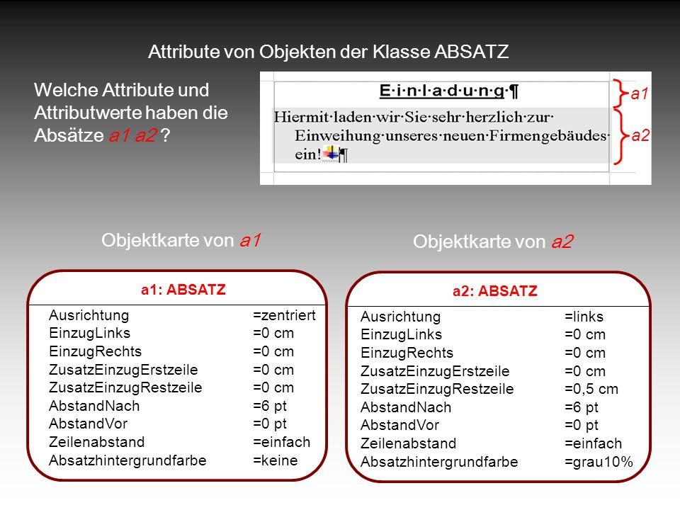 Attribute von Objekten der Klasse ABSATZ Welche Attribute und Attributwerte haben die Absätze a1 a2 ? a1: ABSATZ Ausrichtung=zentriert EinzugLinks=0 c