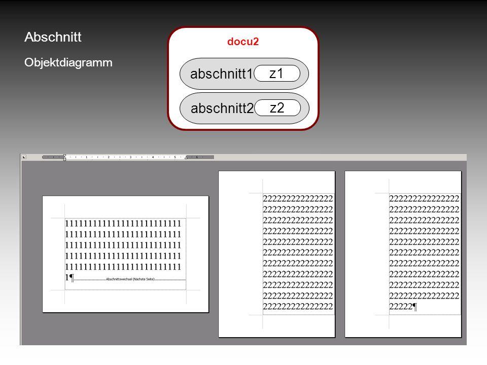 Abschnitt Objektdiagramm abschnitt1 z1 abschnitt2 z2 docu2