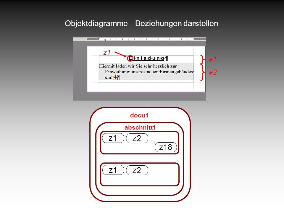 Objektdiagramme – Beziehungen darstellen abschnitt1 a1 a2 z1 docu1 z1 z2 z18 z1 z2