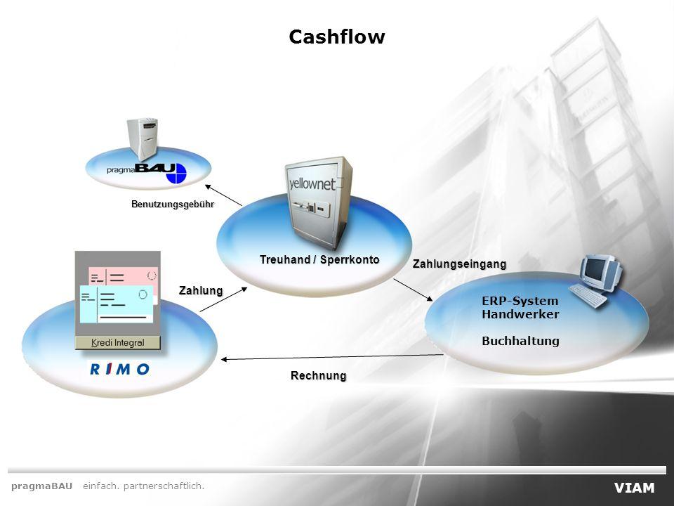 Treuhand / Sperrkonto Cashflow ERP-System Handwerker Buchhaltung Benutzungsgebühr Zahlung Zahlungseingang Rechnung pragmaBAU einfach.