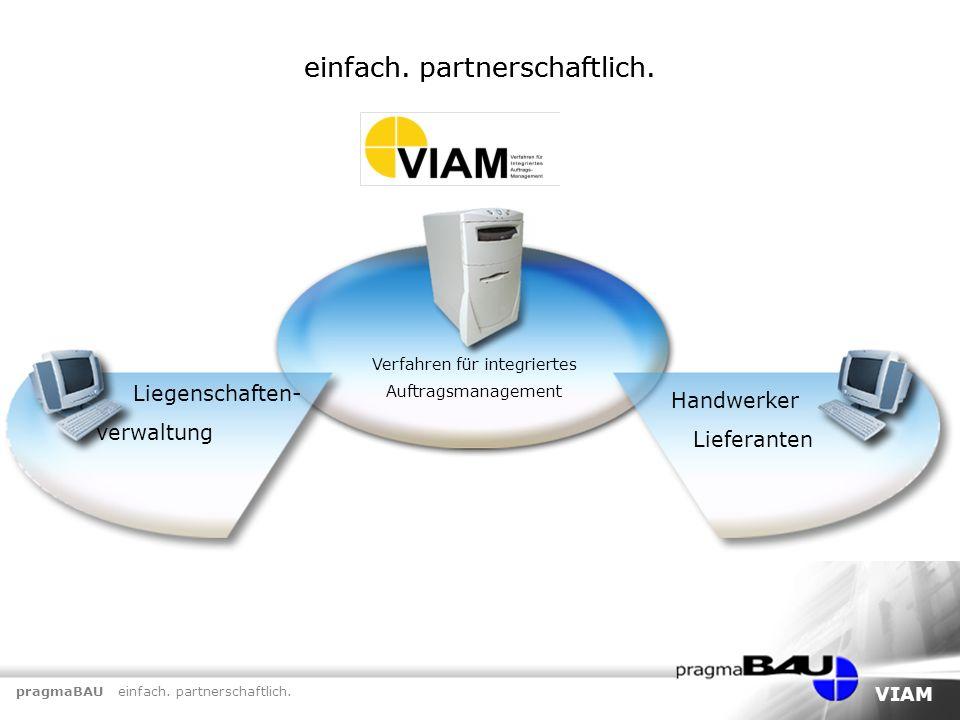pragmaBAU einfach. partnerschaftlich. VIAM einfach. partnerschaftlich. Verfahren für integriertes Auftragsmanagement einfach. partnerschaftlich. Liege