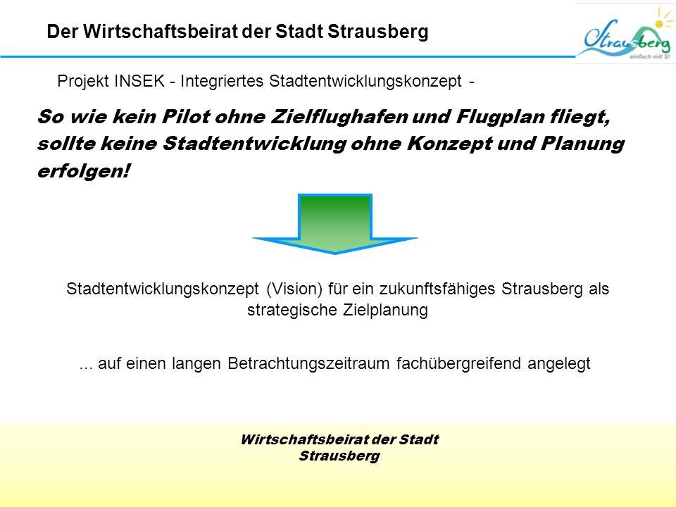 Wirtschaftsbeirat der Stadt Strausberg Stadtentwicklungskonzept (Vision) für ein zukunftsfähiges Strausberg als strategische Zielplanung So wie kein Pilot ohne Zielflughafen und Flugplan fliegt, sollte keine Stadtentwicklung ohne Konzept und Planung erfolgen!...