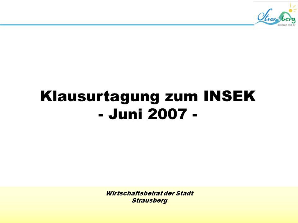 Wirtschaftsbeirat der Stadt Strausberg Klausurtagung zum INSEK - Juni 2007 -