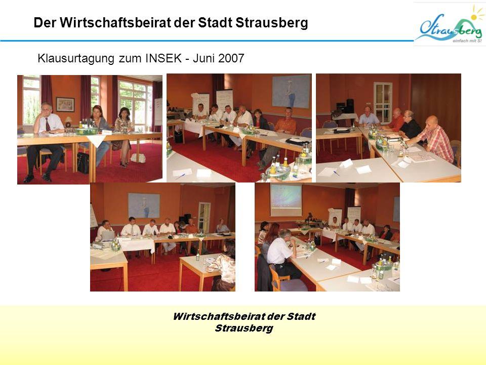 Wirtschaftsbeirat der Stadt Strausberg Klausurtagung zum INSEK - Juni 2007 Der Wirtschaftsbeirat der Stadt Strausberg