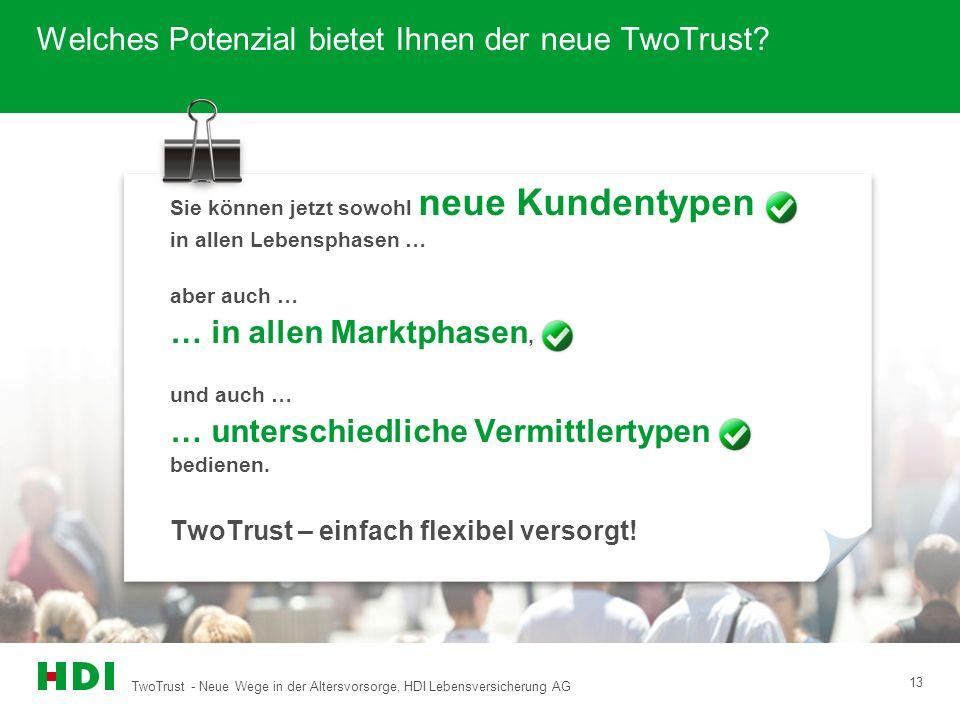 TwoTrust - Neue Wege in der Altersvorsorge, HDI Lebensversicherung AG 13 Welches Potenzial bietet Ihnen der neue TwoTrust? Sie können jetzt sowohl neu