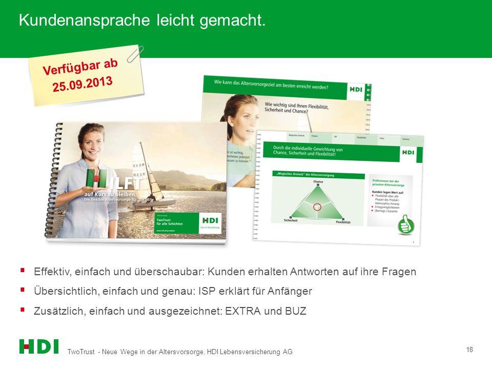 TwoTrust - Neue Wege in der Altersvorsorge, HDI Lebensversicherung AG 18 Kundenansprache leicht gemacht. Verfügbar ab 25.09.2013 Effektiv, einfach und