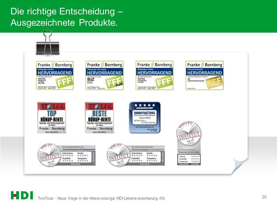 TwoTrust - Neue Wege in der Altersvorsorge, HDI Lebensversicherung AG 20 Die richtige Entscheidung – Ausgezeichnete Produkte.