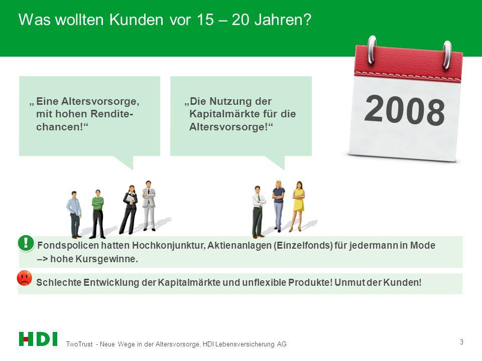 TwoTrust - Neue Wege in der Altersvorsorge, HDI Lebensversicherung AG 3 1993 Was wollten Kunden vor 15 – 20 Jahren? Fondspolicen hatten Hochkonjunktur