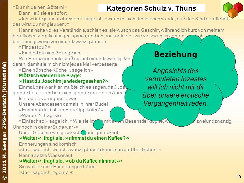 10 © 2011 M. Seeger ZPG-Deutsch (Kursstufe) » Du mit deinen G ö ttern! « Dann lie ß sie es sofort. » Ich w ü rde ja nicht abreisen «, sage ich, » wenn