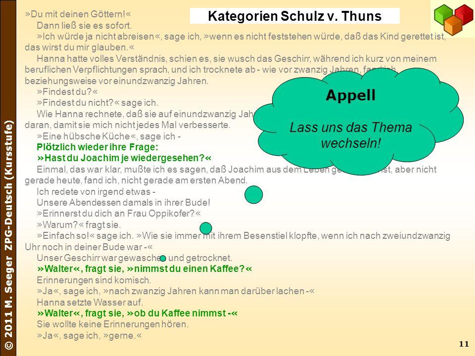 11 © 2011 M. Seeger ZPG-Deutsch (Kursstufe) » Du mit deinen G ö ttern! « Dann lie ß sie es sofort. » Ich w ü rde ja nicht abreisen «, sage ich, » wenn