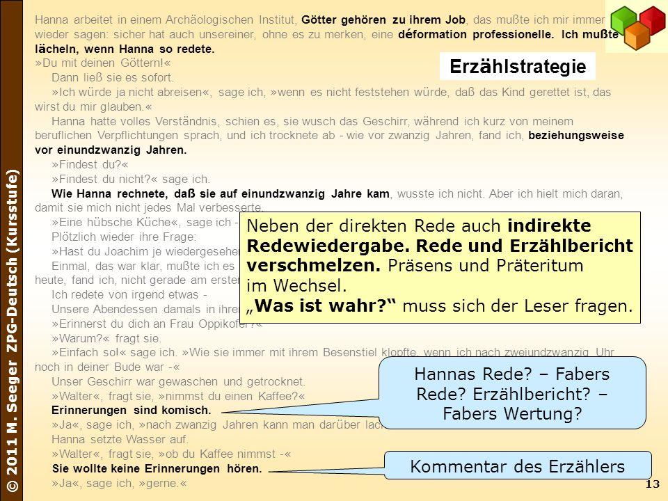 13 © 2011 M. Seeger ZPG-Deutsch (Kursstufe) Hanna arbeitet in einem Arch ä ologischen Institut, Götter gehören zu ihrem Job, das mu ß te ich mir immer