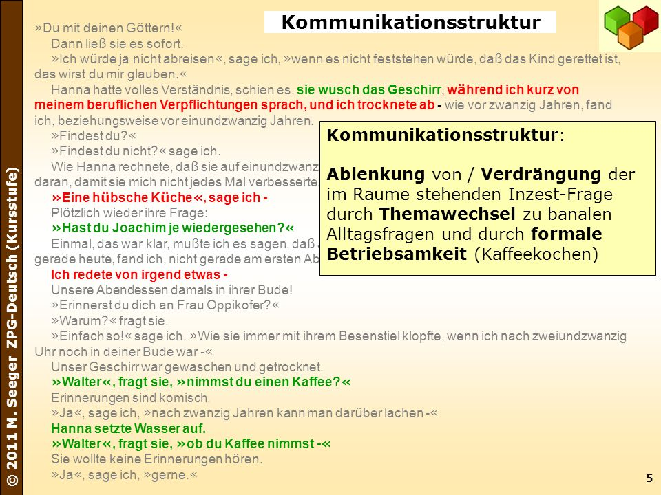 5 © 2011 M. Seeger ZPG-Deutsch (Kursstufe) » Du mit deinen G ö ttern! « Dann lie ß sie es sofort. » Ich w ü rde ja nicht abreisen «, sage ich, » wenn