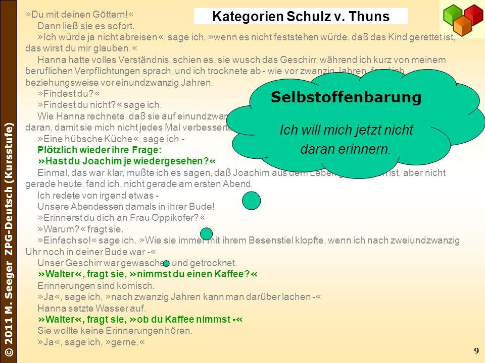 9 © 2011 M. Seeger ZPG-Deutsch (Kursstufe) » Du mit deinen G ö ttern! « Dann lie ß sie es sofort. » Ich w ü rde ja nicht abreisen «, sage ich, » wenn