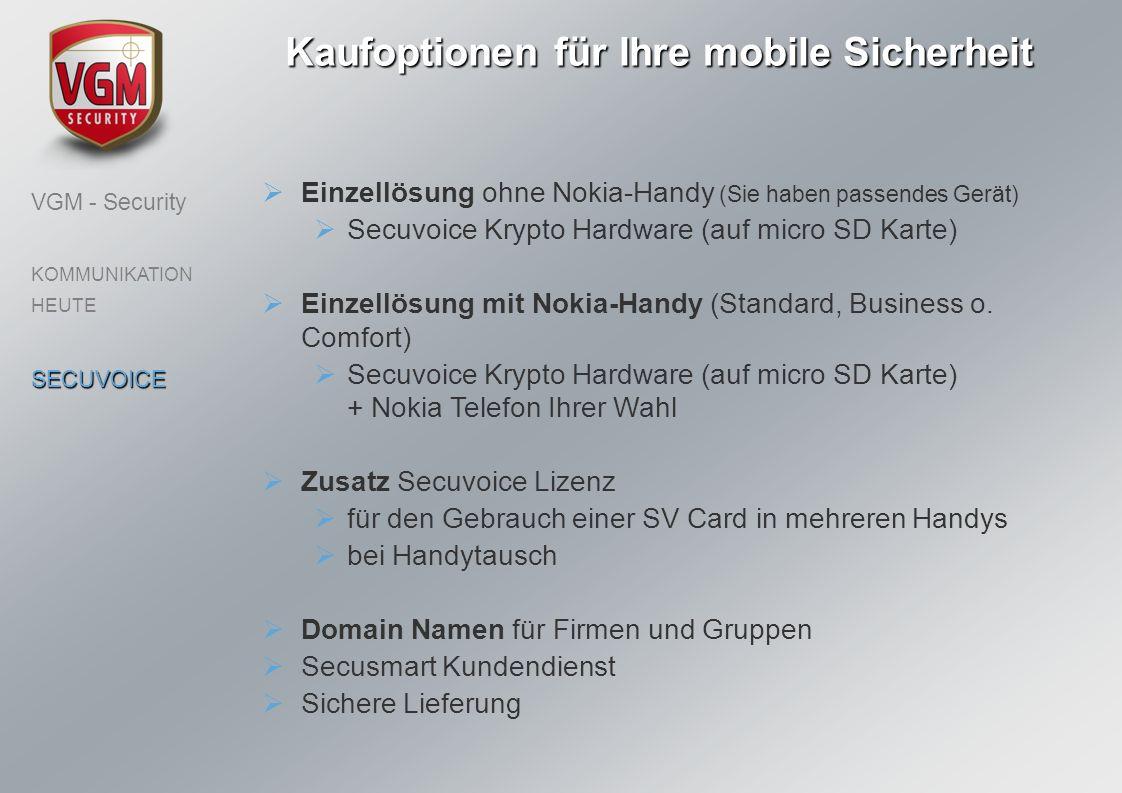 Einzellösung ohne Nokia-Handy (Sie haben passendes Gerät) Secuvoice Krypto Hardware (auf micro SD Karte) Einzellösung mit Nokia-Handy (Standard, Busin